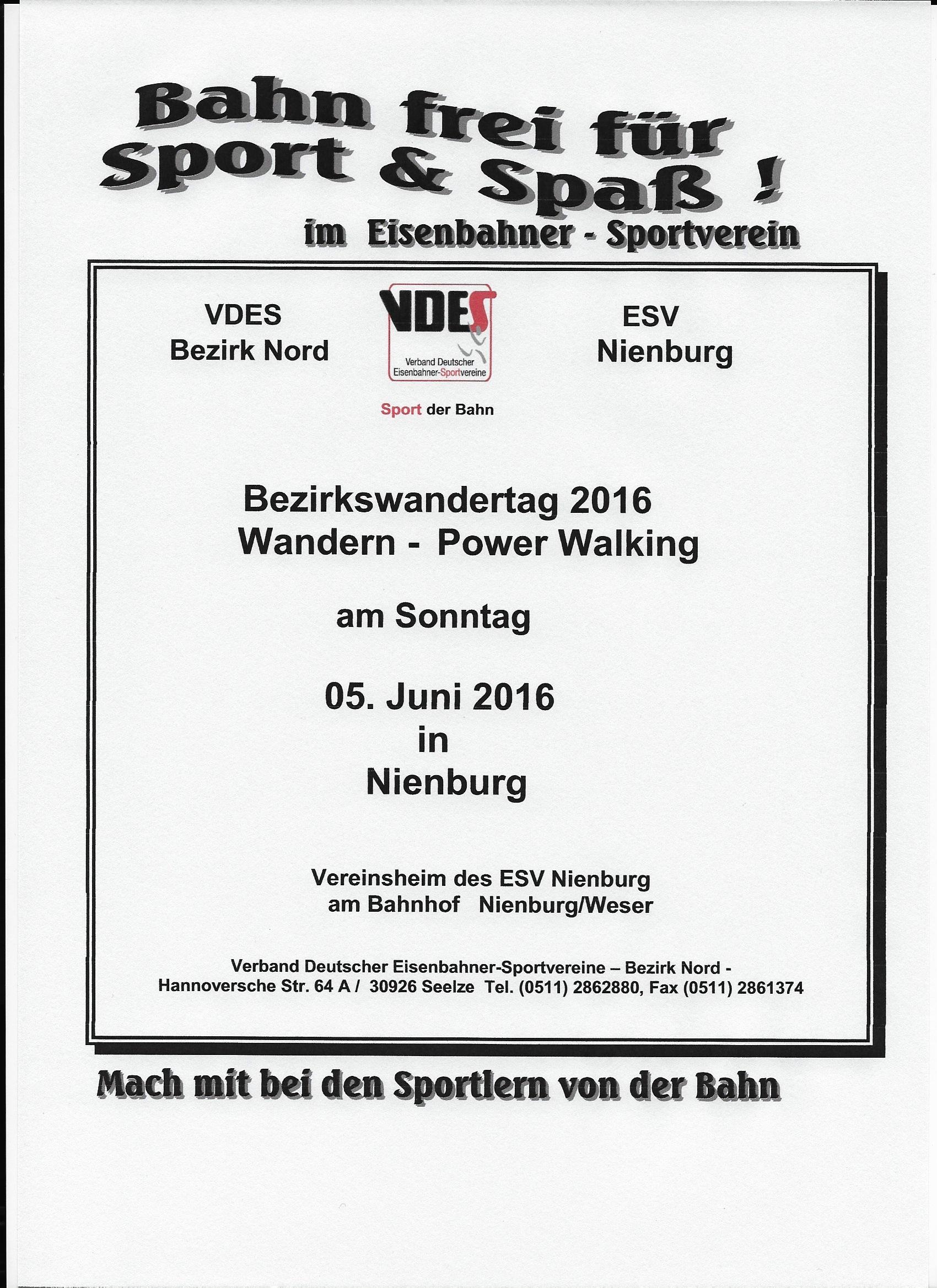 Ausschreibung Bezirkswandertag 2016
